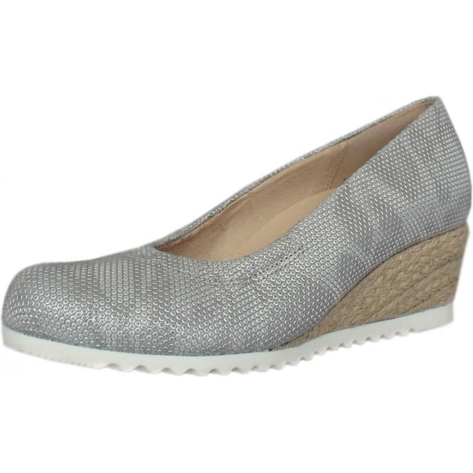 Gabor Chancellor Wide Fit Wedge Pumps in Pewter Leather