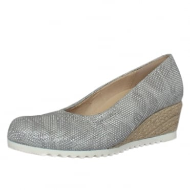 Chancellor Wide Fit Wedge Pumps in Pewter Leather