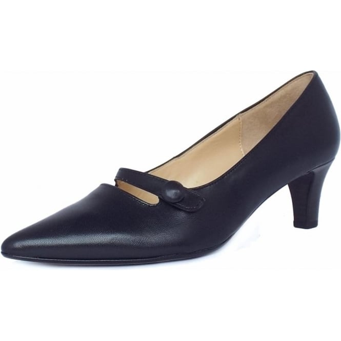 Gabor Charity Women's Smart Kitten Heel Court Shoes in Navy