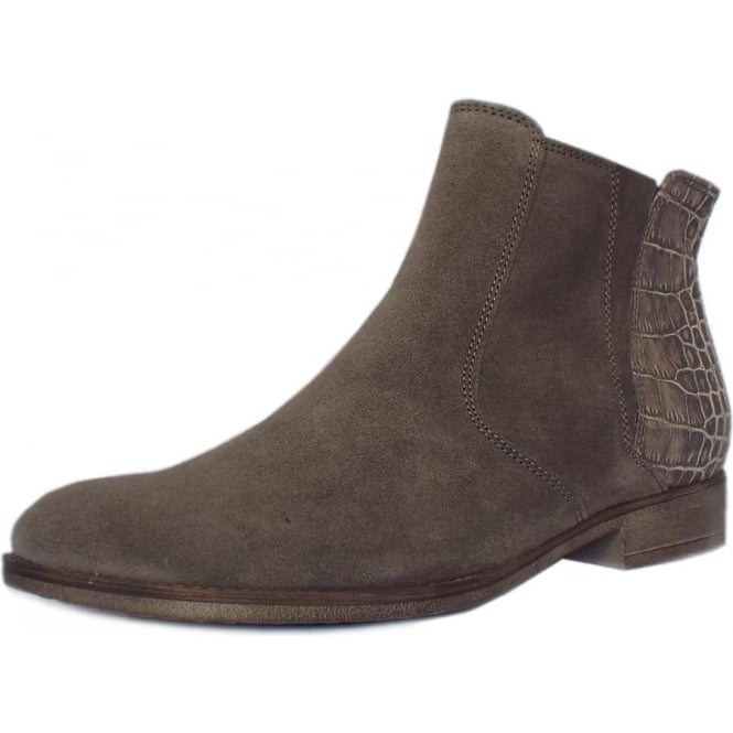 Gabor Chateau Modern Fashion Suede Ankle Boots In Wallaby