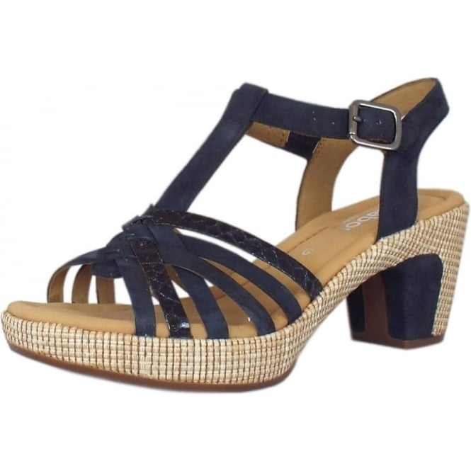 Gabor Cheri Modern Wider Fit T-Bar Sandals in Navy