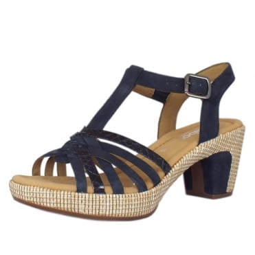 Cheri Modern Wider Fit T-Bar Sandals in Navy