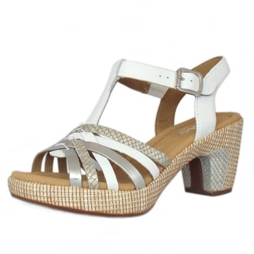 Cheri Modern Wider Fit T-Bar Sandals in White/Silver