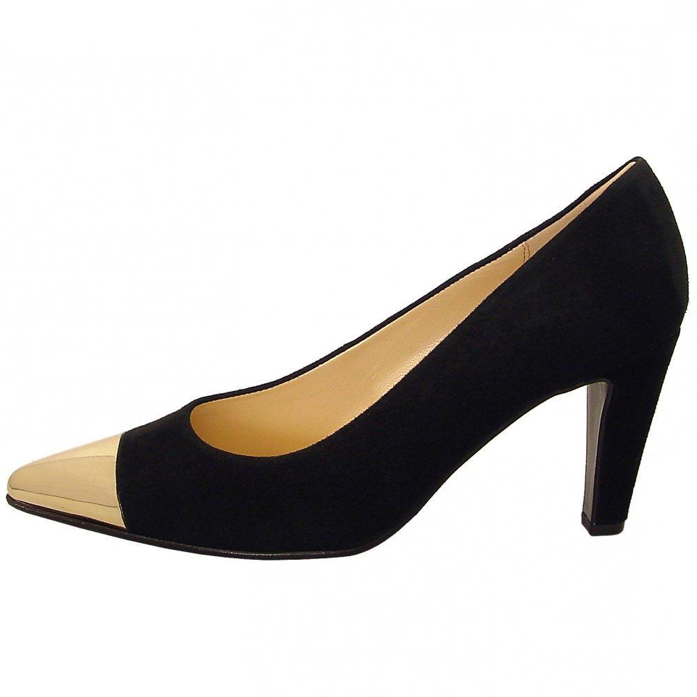 gabor shoes cherish womens court shoe in black suede