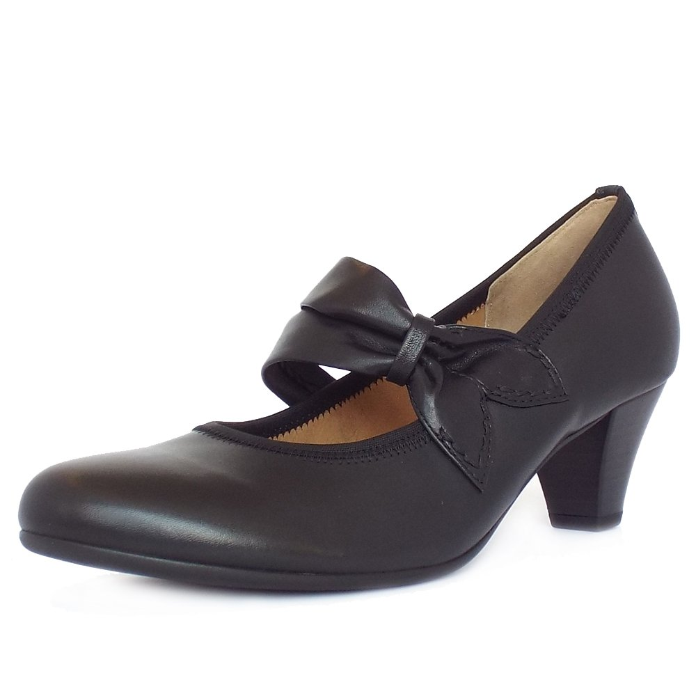 gabor coltrane women 39 s comfortable mary jane shoes in black leather. Black Bedroom Furniture Sets. Home Design Ideas