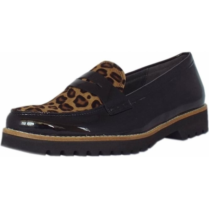 skilful manufacture best cheap online retailer Gabor Coy Women's Smart Casual Wide Fit Loafers in Black Patent & Leopard  Print