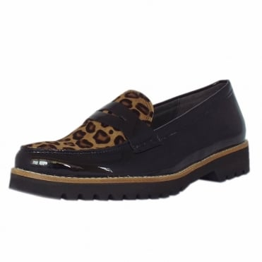 Coy Women's Smart Casual Wide Fit Loafers in Black Patent & Leopard Print