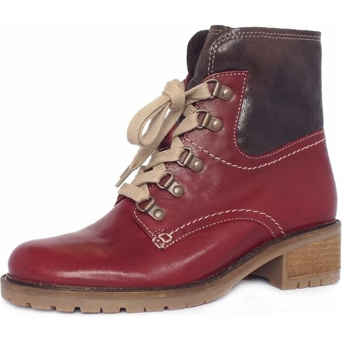 Cranleigh Womens Wide Fit Lace Up Ankle Boots in Dark Red