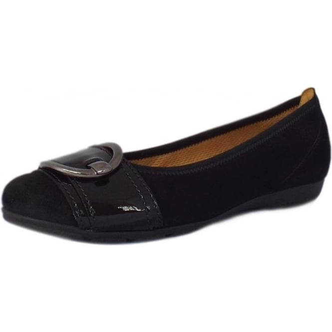 Gabor Cullin Casual Ballet Pumps in Black Suede