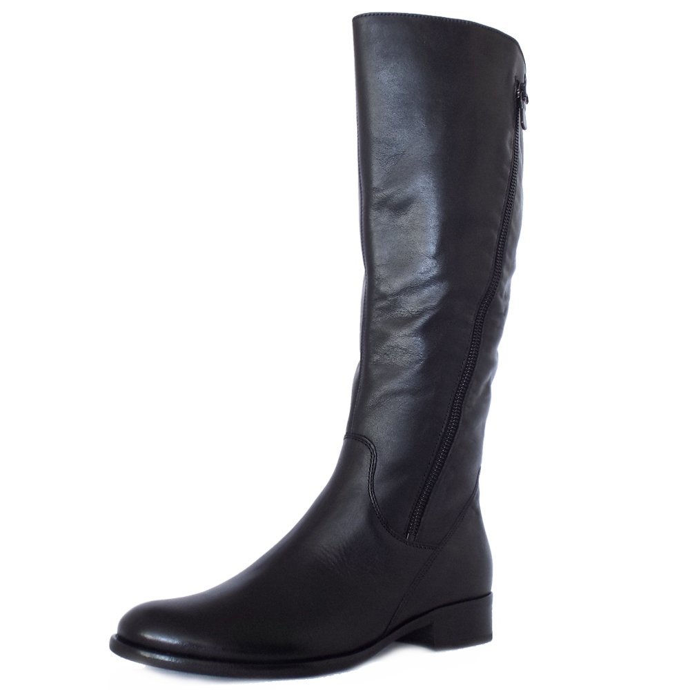 gabor dawson modern black leather knee high boots mozimo