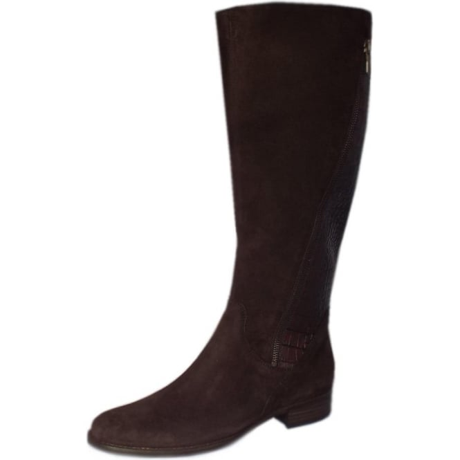 Gabor Dawson Brown Suede & Croc Leather Knee High Boots