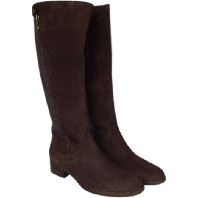 c2683541f04 Dawson Brown Suede & Croc Leather Knee High Boots