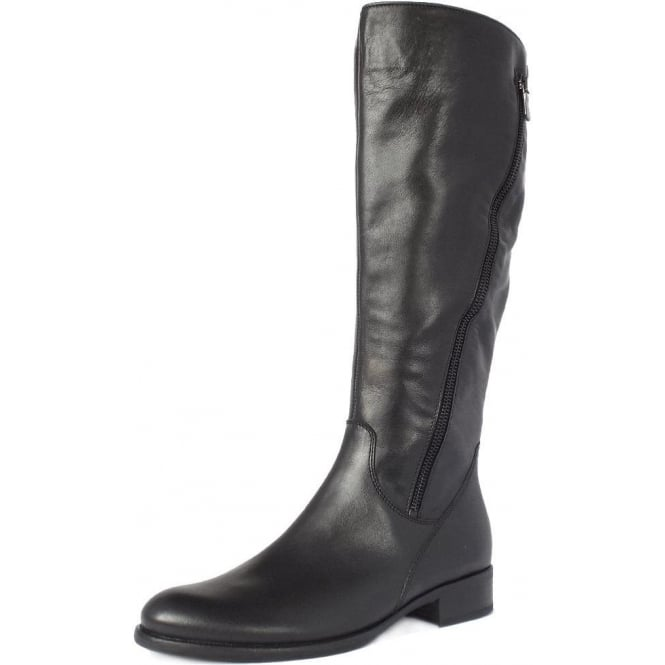 Knee High Black Leather Boots   Mozimo