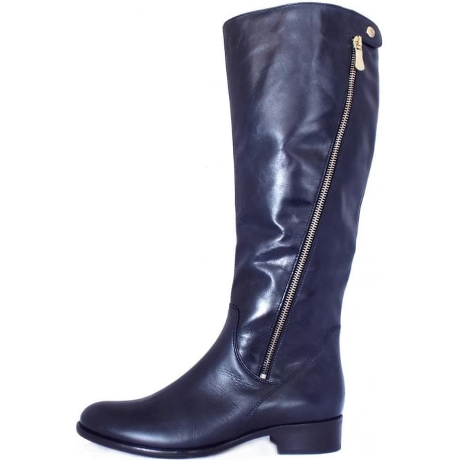 Knee High Navy Leather Boots | Mozimo