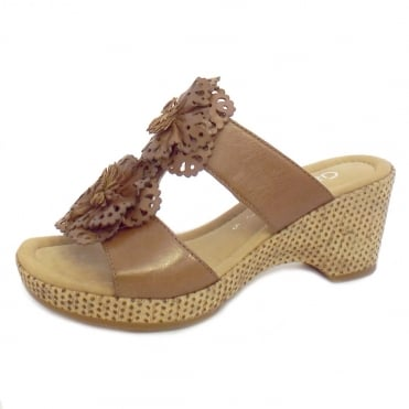 Gabor Degner Floral Wedge Sandals in Tan