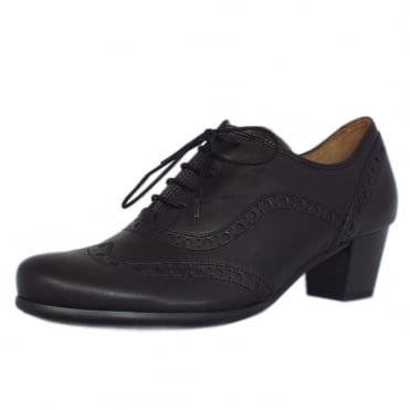 Denver Mid Heel Leather Brogues in Black