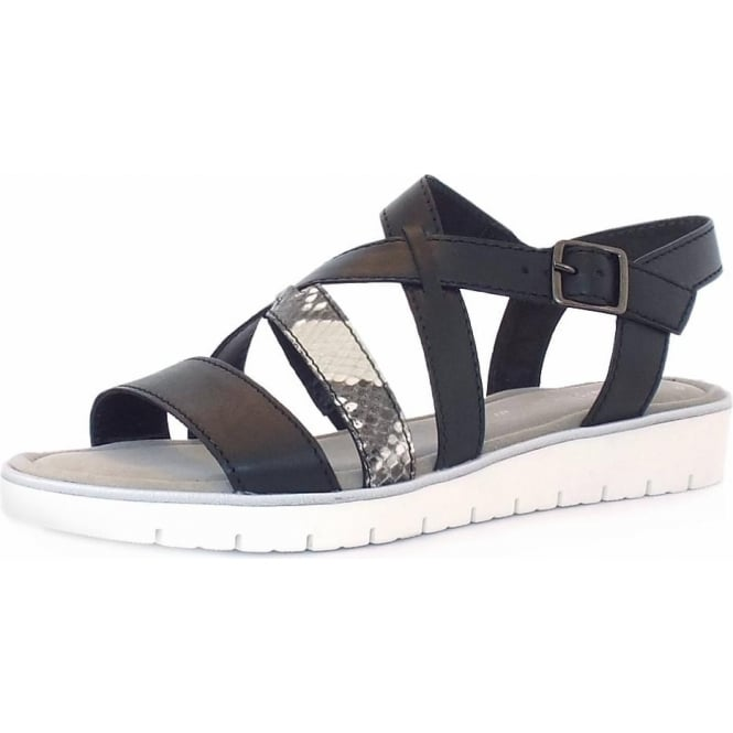 Gabor Donatella Women's Fashion Sandal in Black and Grey Snake Mix