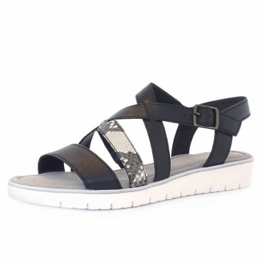 Donatella Women's Fashion Sandal in Black and Grey Snake Mix