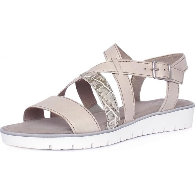 Gabor Donatella Women's Fashion Sandal in Nude and Stone Croc Mix