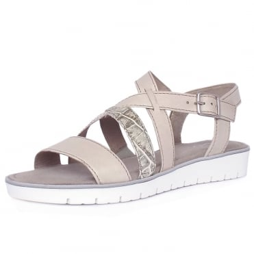 Donatella Women's Fashion Sandal in Nude and Stone Croc Mix