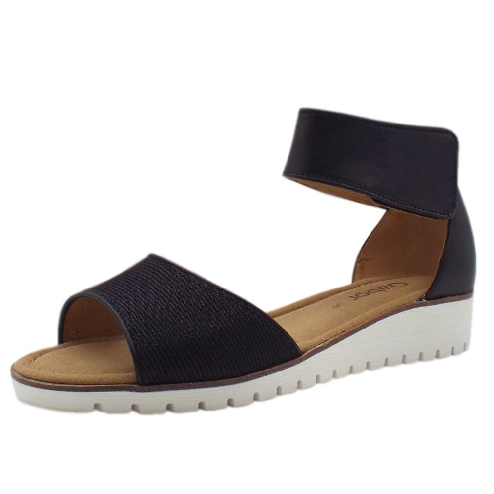 Elkie Modern Wedge Ankle Strap Sandal in Black