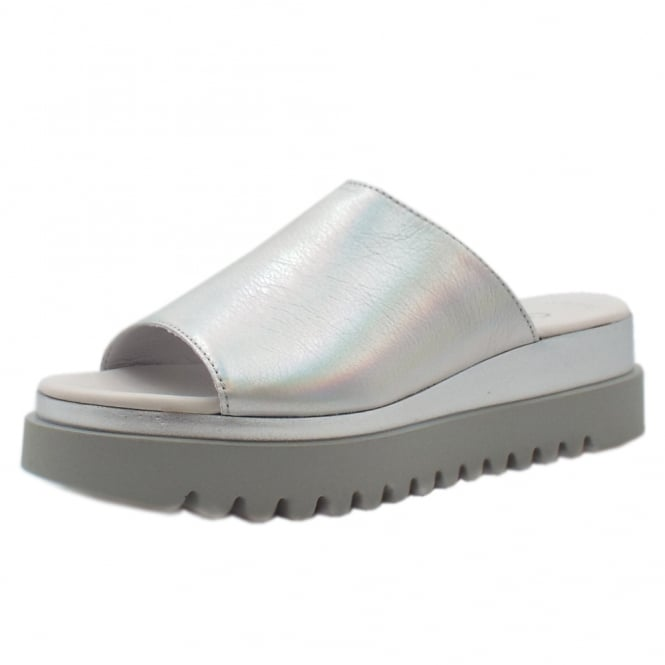 Gabor Emily-Rose Modern Sporty Mules in Silver