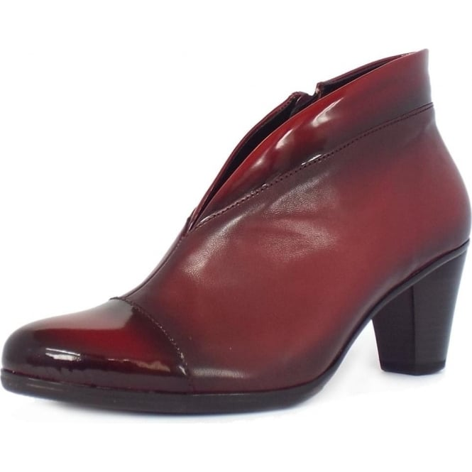 Gabor Enfield Shoe Boots in Red Leather and Patent