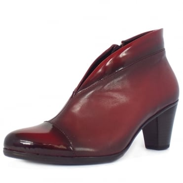 Enfield Shoe Boots in Red Leather and Patent