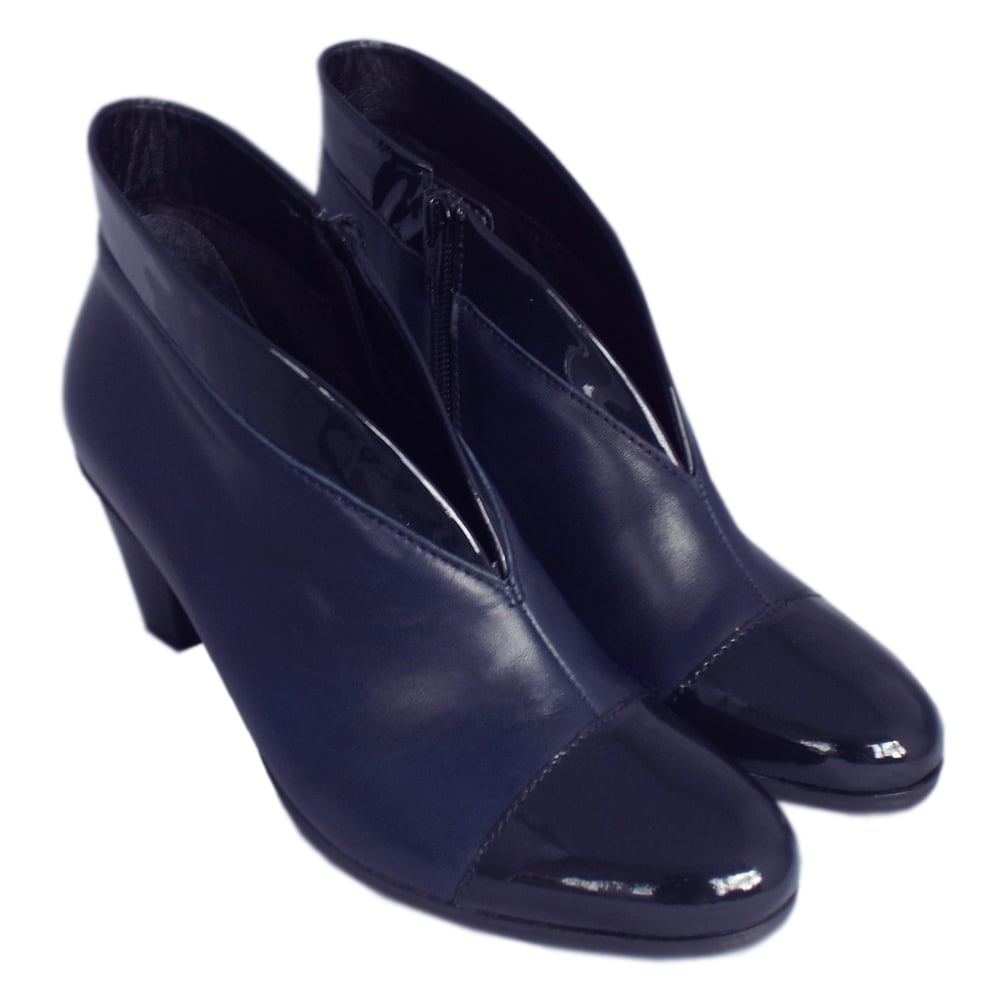 Enfield Shoe Boots in River Navy Leather and Patent
