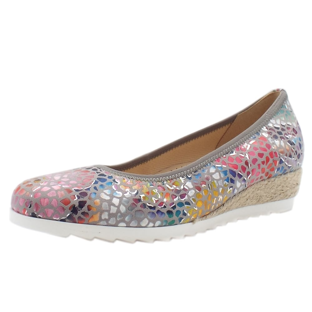 Epworth Wide Fit Fun Bright Low Wedge Pumps in Flower Stone