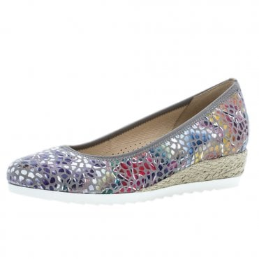 5f754e039 Epworth Wide Fit Fun Bright Low Wedge Pumps in Flower Stone