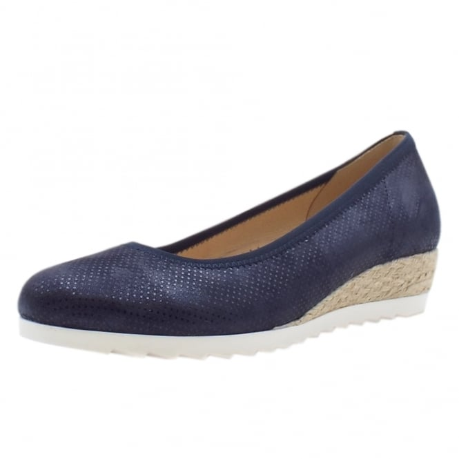 Gabor Epworth Wide Fit Fun Low Wedge Pumps in Night Blue