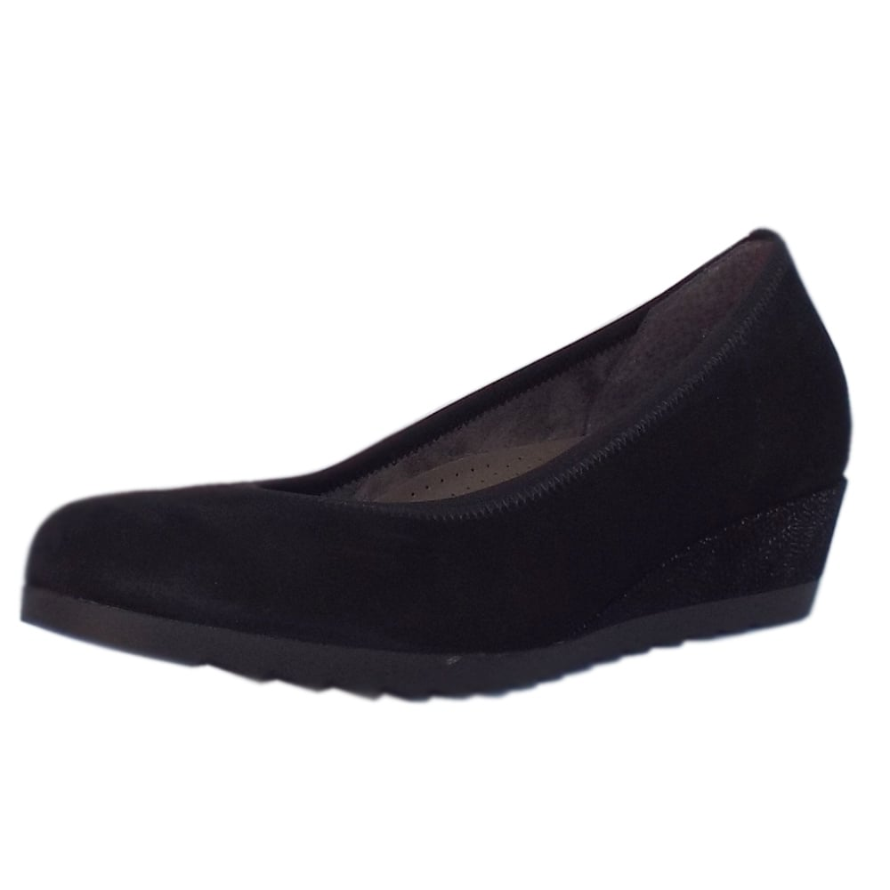9747c24af5 Gabor Epworth   Women's Black Suede Wide Fit Low Wedge Shoes   Mozimo