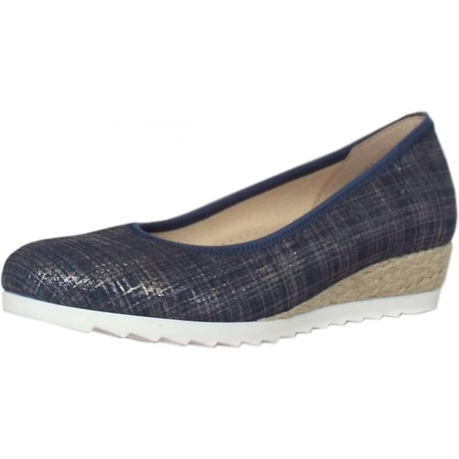 43b1a71a3 Gabor Epworth | Women's Metallic Blue Wide Fit Low Wedge Casual Shoes