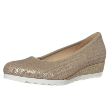 Epworth Wide Fit Low Wedge Pumps in Metallic Silk
