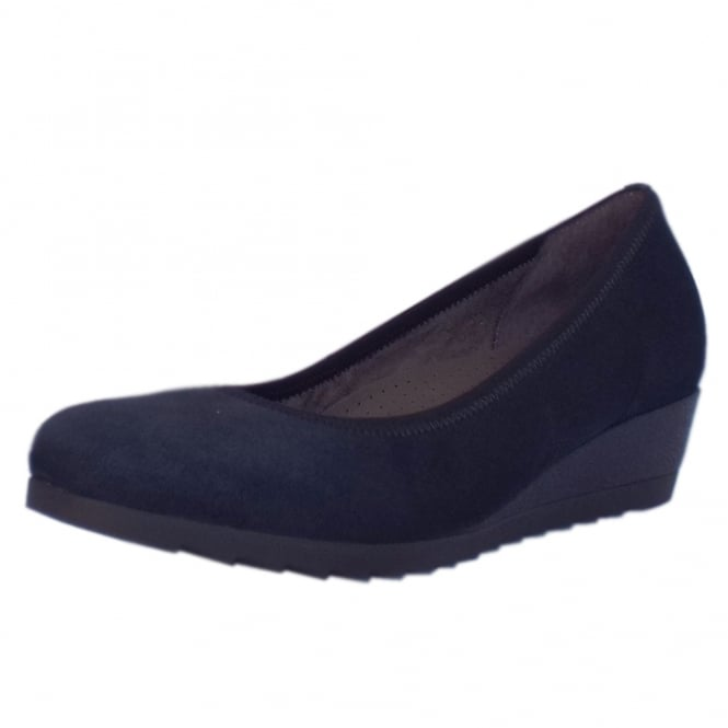 Gabor Epworth Wide Fit Low Wedge Pumps in Navy Suede