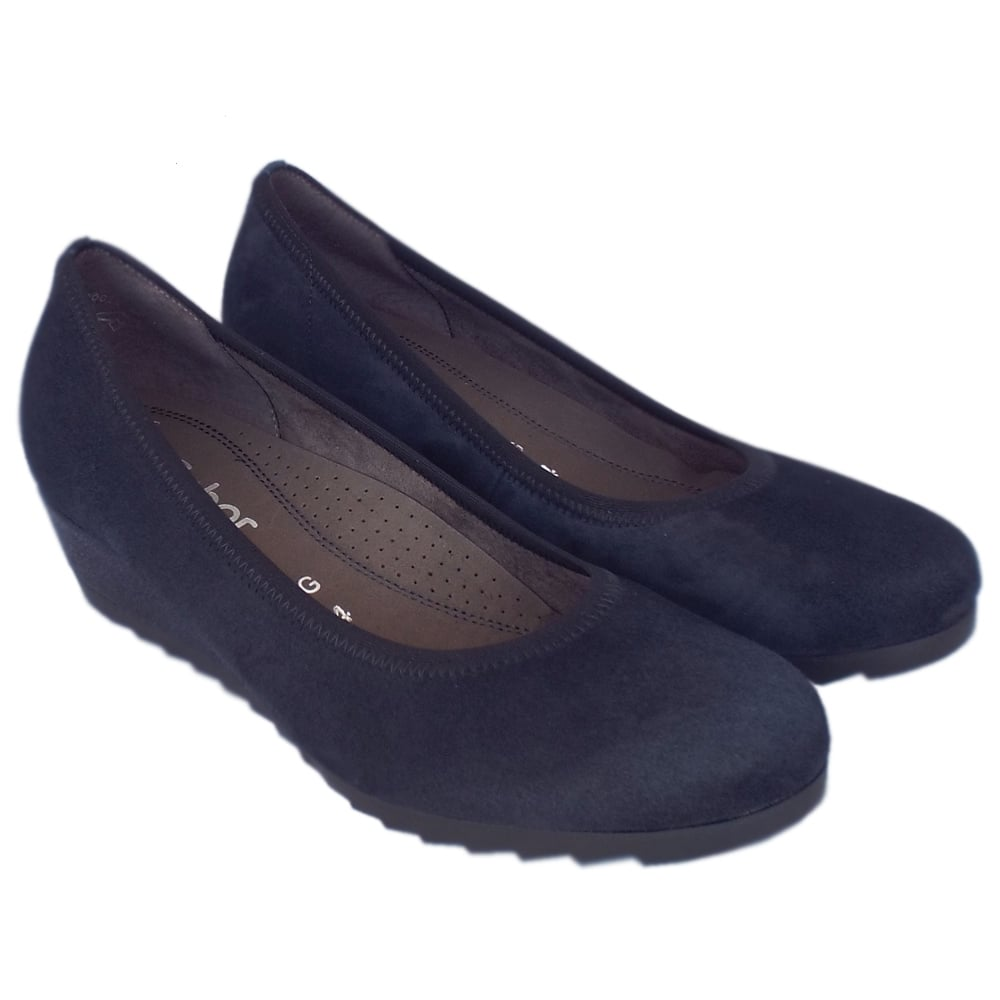 8bdf6872f8314 Gabor Epworth | Women's Navy Suede Wide Fit Low Wedge Shoes | Mozimo