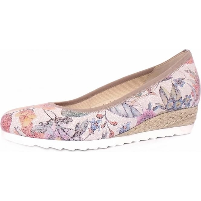 Gabor Epworth Women's Wide Fit Low Wedge Pumps in Flower Print Leather