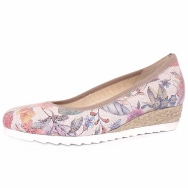 Epworth Women's Wide Fit Low Wedge Pumps in Flower Print Leather
