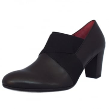 Gabor Function Mid Heel High Cut Court Shoes in Black