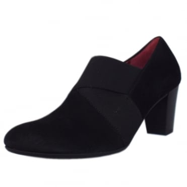 Function Mid Heel High Cut Court Shoes in Black Suede