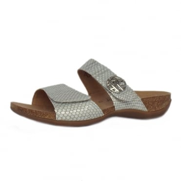 Gabor Shani Womens Mule Sandals in Silver Snake
