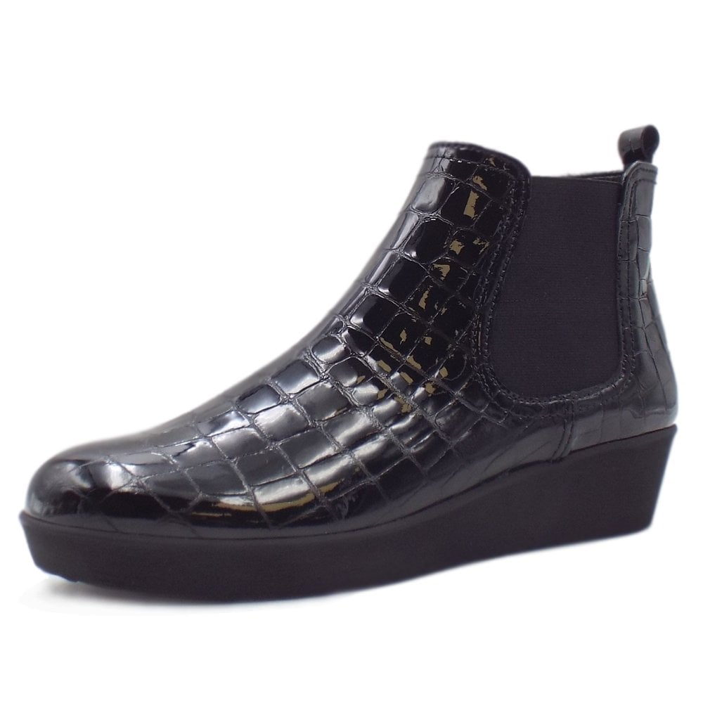26480484e2b78 Gabor Ghost | Women's Wedge Ankle Boots in Black Croc Patent | Mozimo