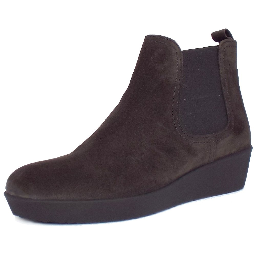 gabor ghost s low wedge ankle boots in grey suede