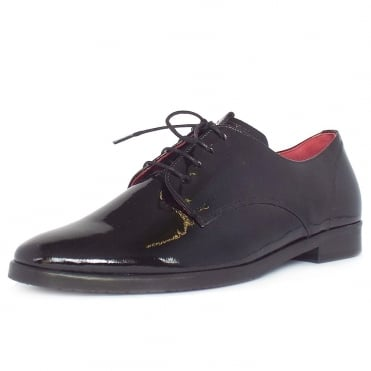 Gabor Gondola Smart Casual Lace-Up Shoes in Black Patent