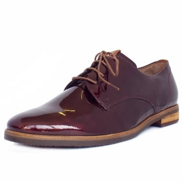 Gabor Gondola Smart Casual Lace-Up Shoes in Dark Red Patent