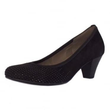 Goodman Mid Heel Dressy Court Shoes In Black Suede