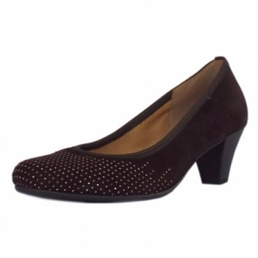 Goodman Mid Heel Dressy Court Shoes In Brown Suede
