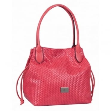 Gabor Granada Women's Shopper Tote Bag in Woven Effect Red