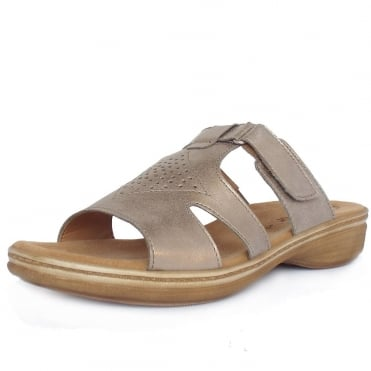 Gabor Hamburg Modern Flat Mules Sandals in Light Gold